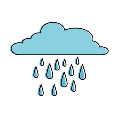 Cloud weather with rain drops vector illustration design.