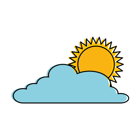 Cloud weather with sun vector illustration design.