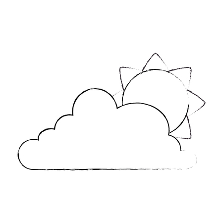 cloud weather with sun vector illustration design  イラスト・ベクター素材