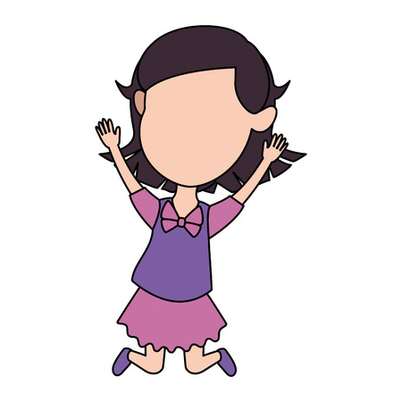 Cute and little girl celebrating vector illustration design.
