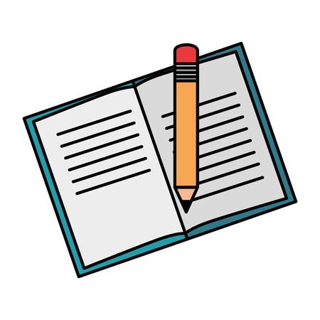 Livre de texte avec un crayon vecteur illustration design Banque d'images - 96185115