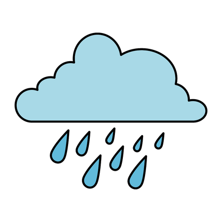 cloud weather with rain drops vector illustration design Illustration