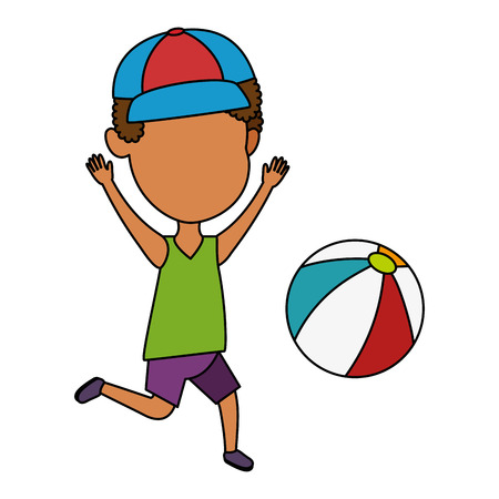 Little boy playing with beach balloon vector illustration design Illustration