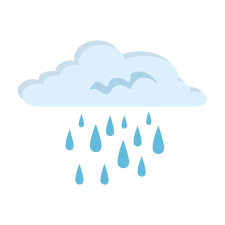 Cloud weather with rain drops vector illustration design