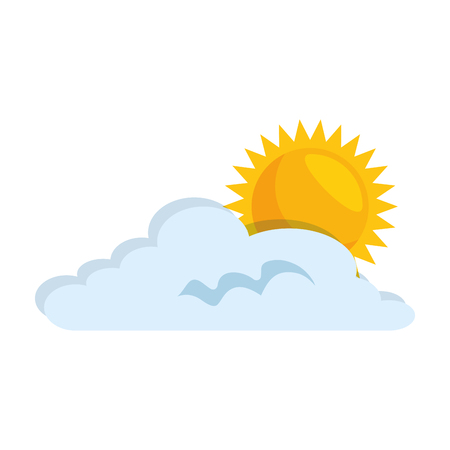Cloud weather with sun vector illustration design