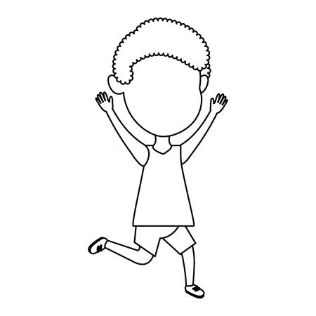 Cute and little boy celebrating vector illustration design.