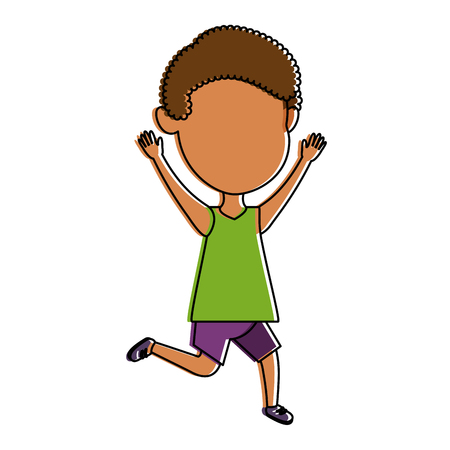 cute and little boy celebrating vector illustration design