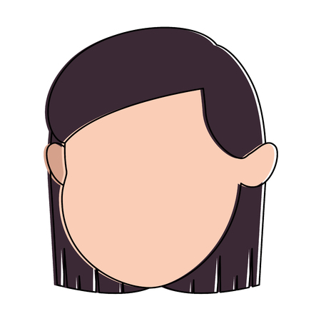cute and little girl head vector illustration design 일러스트