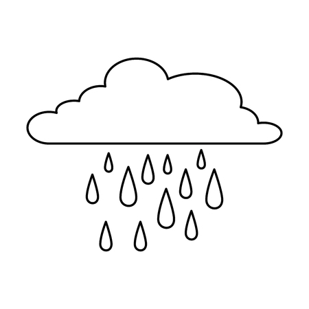 cloud weather with rain drops vector illustration design Ilustração