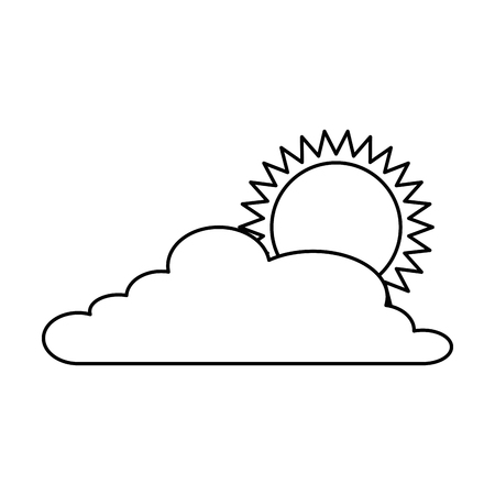 cloud weather with sun vector illustration design Иллюстрация