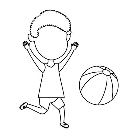 Little boy playing with beach balloon vector illustration design.