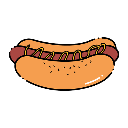 Delicious hot dog fast food vector illustration design.