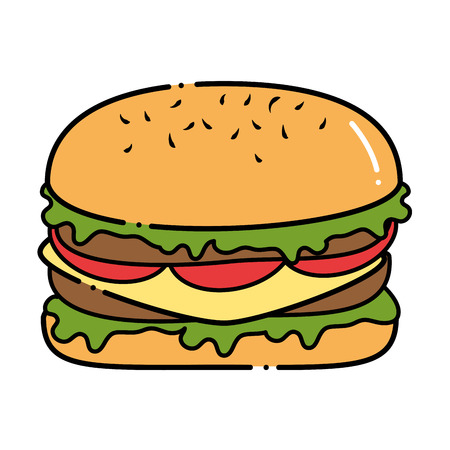 Delicious burger fast food vector illustration design.