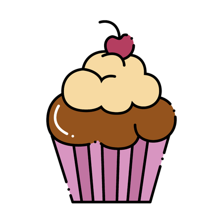 Delicious and sweet cupcake vector illustration design. Illustration