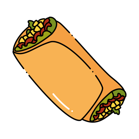 Delicious Mexican burrito icon vector illustration design.