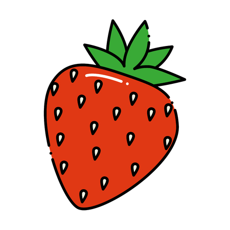 Delicious sweet strawberry icon vector illustration design. Çizim