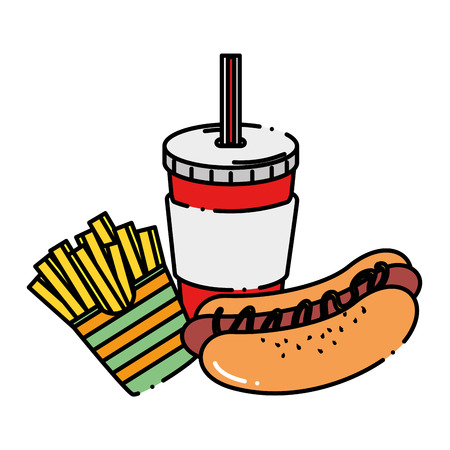Delicious hot dog with soda and french fries vector illustration design.