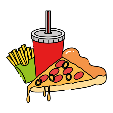 Delicious pizza portion with soda and french fries vector illustration design. Illustration