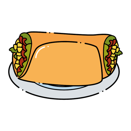 Delicious Mexican burrito in dish vector illustration design.