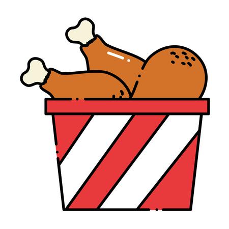 Delicious chicken thighs in pot vector illustration design.