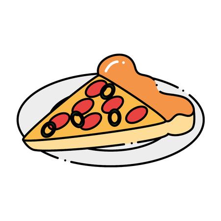 Deliciosa pizza hamburguesa con plato de diseño. ilustración vectorial . Foto de archivo - 96135152