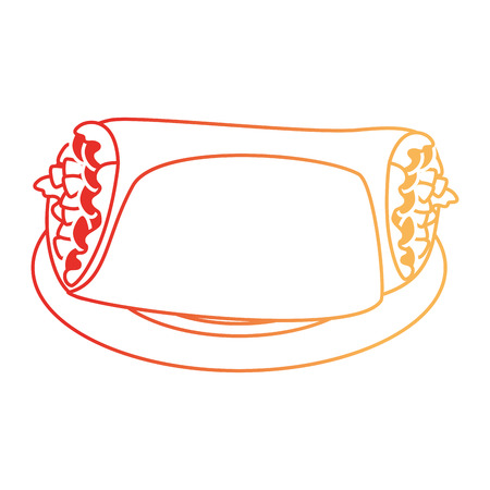 Delicious Mexican burrito in dish vector illustration design.