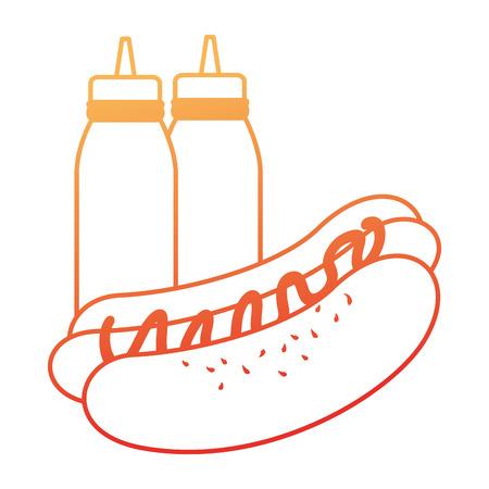 Delicious hot dog with sauce bottle vector illustration design. Illustration