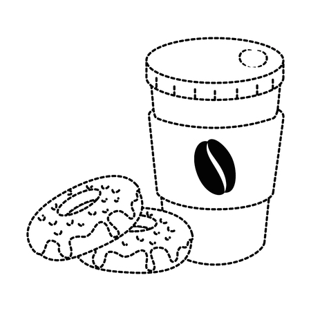 delicious and sweet donut with coffee cup vector illustration design