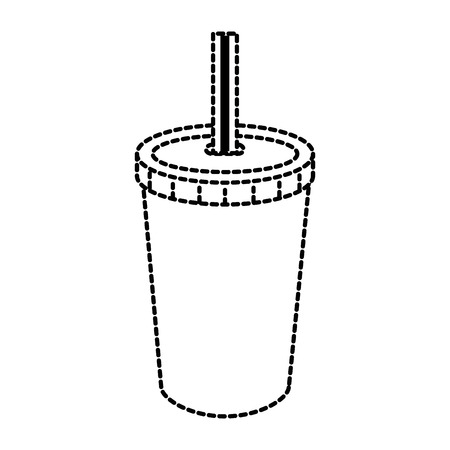 fresh soda in plastic cup with straw vector illustration design