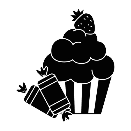 Delicious and sweet cupcake with candies vector illustration design.