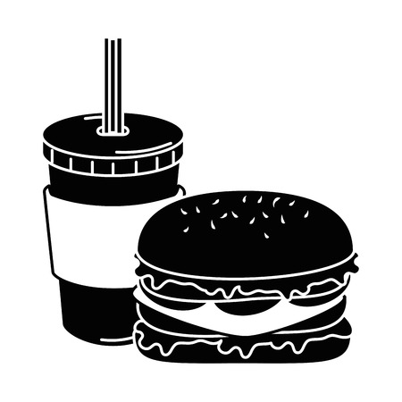 Delicious burger with soda vector illustration design.