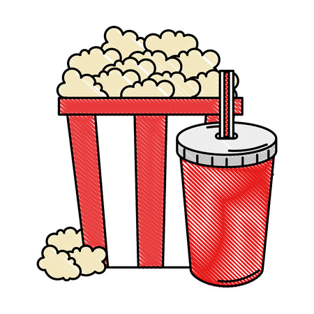 delicious pop corn with soda vector illustration design