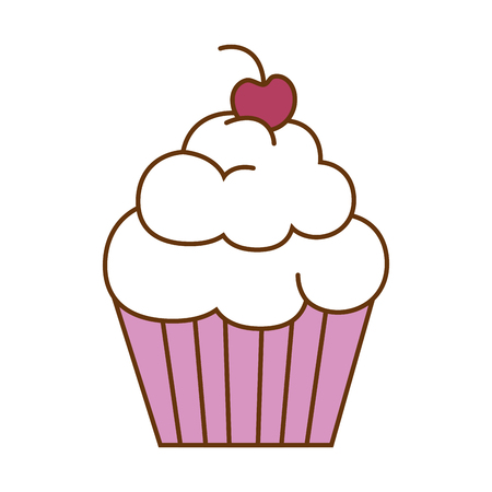 Delicious and sweet cupcake vector illustration design  イラスト・ベクター素材