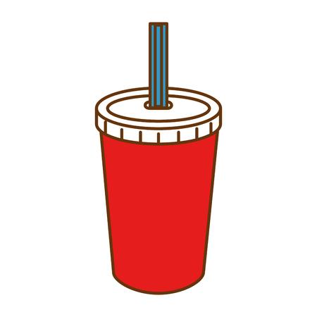 Fresh soda in plastic cup with straw vector illustration design Ilustração