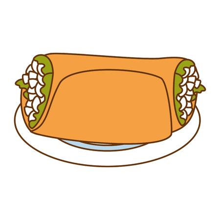 delicious Mexican burrito in dish vector illustration design Ilustração