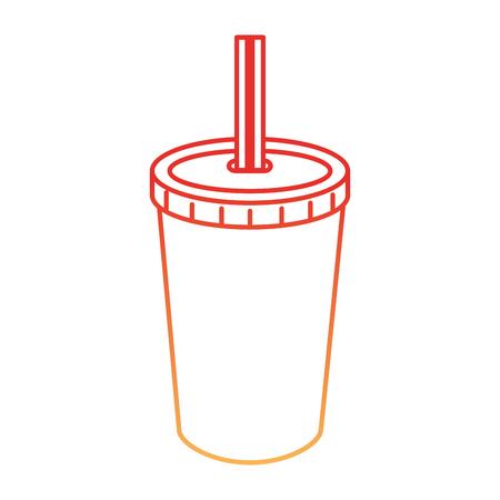 Fresh soda in plastic cup with straw vector illustration design Illustration