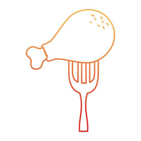Delicious chicken thigh in fork vector illustration design Illustration