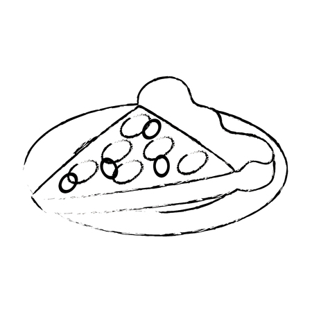 delicious pizza portion with dish vector illustration design