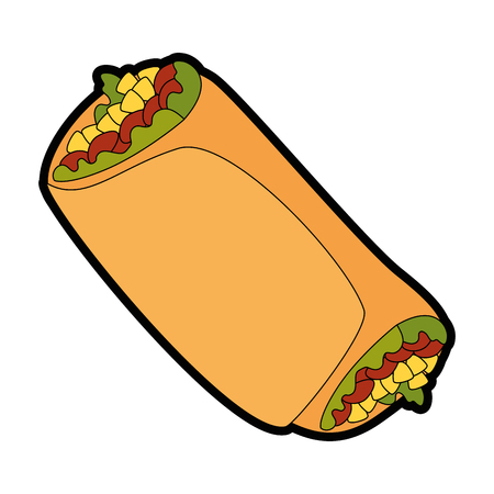delicious Mexican burrito icon vector illustration design Ilustração