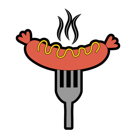 A sausage with sauces in fork vector illustration design