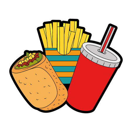 A delicious Mexican burrito with soda and french fries vector illustration design Ilustração