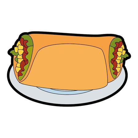 A delicious Mexican burrito in dish vector illustration design