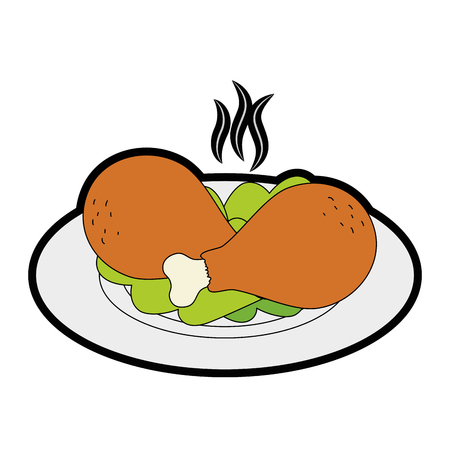A delicious chicken thighs in dish with lettuce vector illustration design
