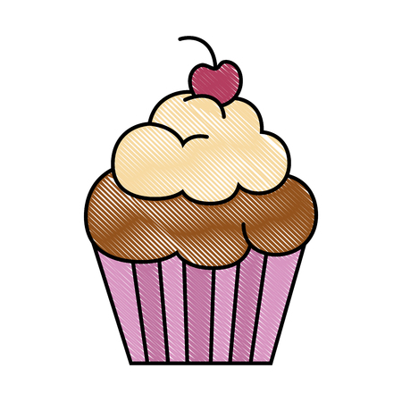 A delicious and sweet cupcake vector illustration design