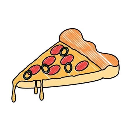 delicious pizza portion icon vector illustration design