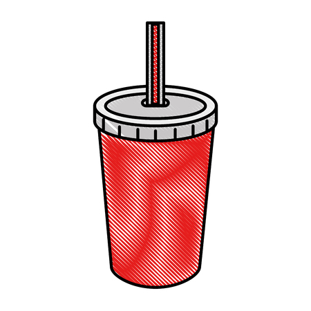 A fresh soda in plastic cup with straw vector illustration design