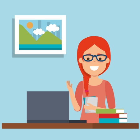 A young woman in workplace vector illustration design Illustration
