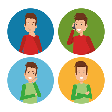 A group of young men vector illustration design