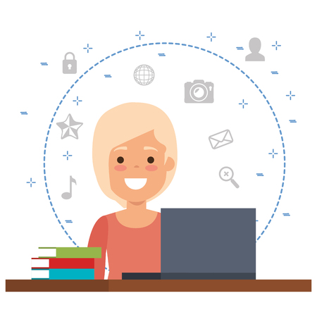businesswoman with business icons vector illustration design
