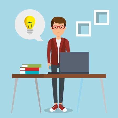 A young man in workplace vector illustration design